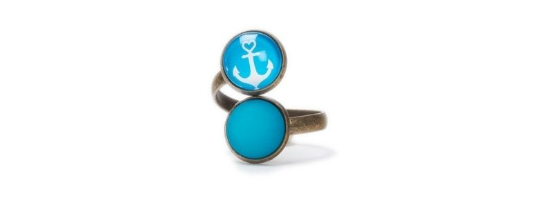 Ring mit  Cabochons Anker