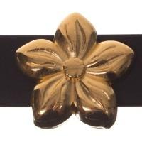 Metallperle Slider Blume, vergoldet, ca. 15,5 x 15,5 mm, Durchmesser Fädelöffnung:  10,2 x 2,3 mm