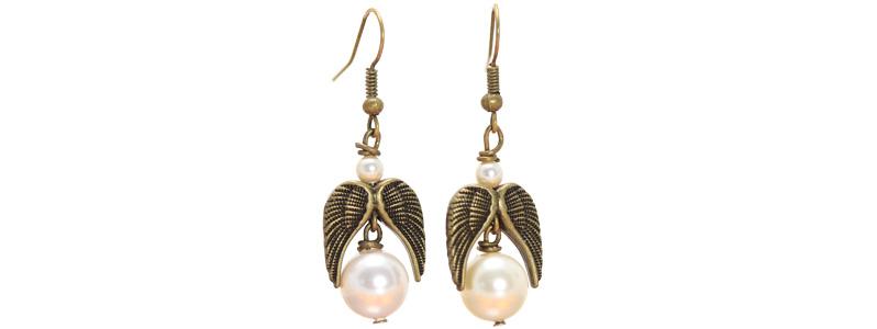 Ohrringe mit Engelanhänger bronzefarben