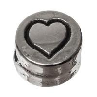 Metallperle, rund, Herz, Durchmesser 7 mm, versilbert