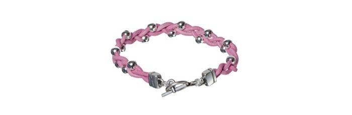Armband Rosa Lederband