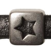 Metallperle Mini-Slider Viereck mit Stern, versilbert, ca. 7,5 x 7,5 mm