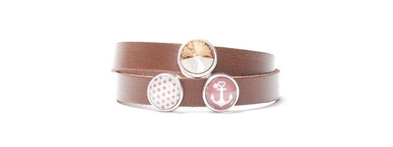 Armband aus Lederband mit Slidern Braun