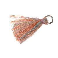 Quaste/Troddel, 25 - 30 mm, Baumwollgarn mit Öse (silberfarben), multicolor
