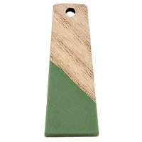 Anhänger aus Holz und Resin, Trapez, 30,0 x 12,0 x 3,0 mm, Öse 2,0 mm, seegrün