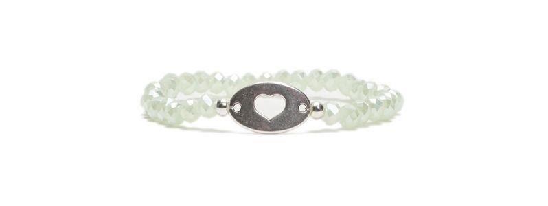Armband mit Glasfacettrondellen Heart