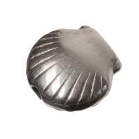 Metallperle Muschel, ca. 8 x 8 mm, versilbert