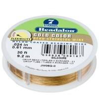 Beadalon 7 Strand, 0,61 mm, 9,2 m, Farbe: Metallic Gold, Schmuckdraht