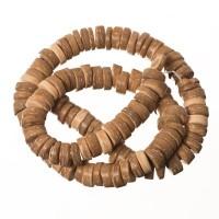 Kokosnussperlen, Scheibe, 9 x 4 mm, hellbraunStrang