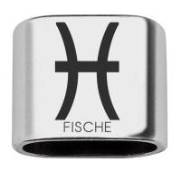"""Zwischenstück mit Gravur Sternzeichen """"Fische"""", 20 x 24 mm, versilbert, geeignet für 10 mm Segelseil"""