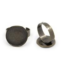 Ring für runde Cabochons 16 mm zum Einkleben, bronzefarben