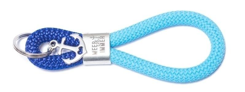 Schlüsselanhänger aus Segelseil Meer und Anker Blau-Türkis