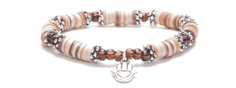 Armband mit Katsuki Perlen Hamsa Versilbert