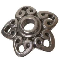 Metallperle Perlkappe, ca. 15 mm, versilbert