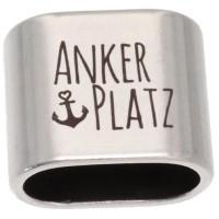 """Zwischenstück mit Gravur """"Ankerplatz"""", 20 x 24 mm, versilbert, geeignet für 10 mm Segelseil"""
