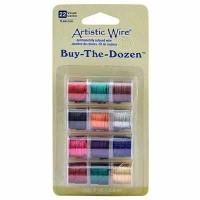Beadalon Artistic Wire (Modellierdraht), 22 Gauge (0,64 mm), Buy-The-Dozen, Gemischte Farben, 12 Spu