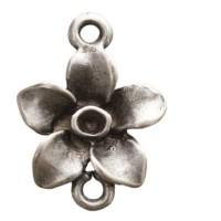 Metallanhänger Blume, ca. 16 mm, versilbert
