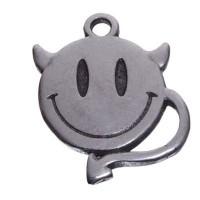 Metallanhänger Smiley Teufel, 18 x 14 mm, versilbert