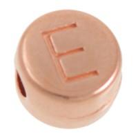 Metallperle, E Buchstabe, rund, Durchmesser 7 mm, rosevergoldet