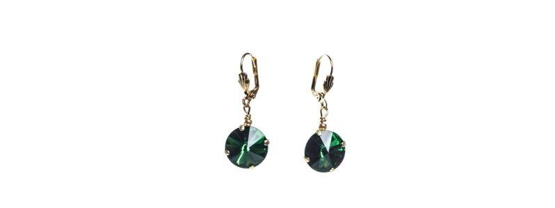 Goldige Ohrringe mit Swarovski Rivoli Emerald
