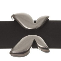 Metallperle Slider / Schiebeperle Schmetterling, versilbert, 16 x 14  mm