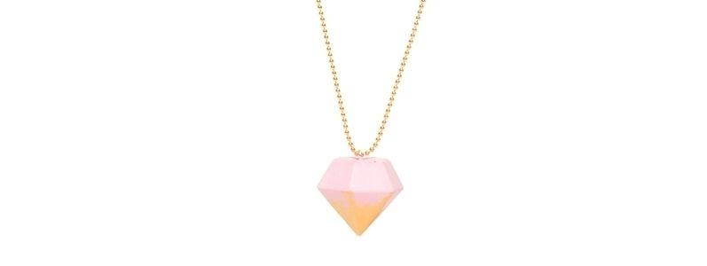 Beton Style -Kette mit Anhänger Diamant Rosa-Goldfarben