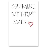 """Schmuckkarte """"You make my heart smile"""", hochkant, weiß/grau, Größe 8,5 x 5,5 cm"""