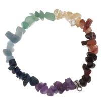 Vorgefertigtes Armband Chakra-Edelsteine, elastisch, mit Öse für Anhänger, transparent/silberfarben