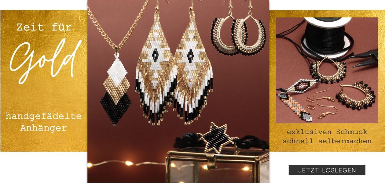 Handgefädelte Ornamente aus japanischen Rocailles