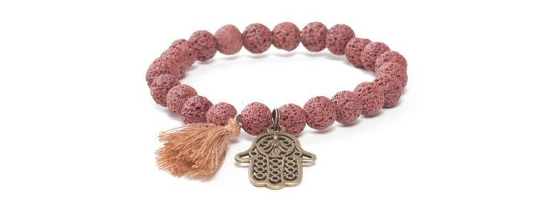 Armband mit Yogaperlen Braune Lava