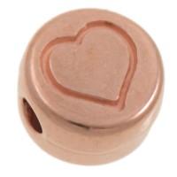 Metallperle, rund, Herz, Durchmesser 7 mm, rosevergoldet