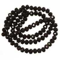 Strang Glasfacett  Rondell, 4 x 6 mm,  schwarz metallic, Länge des Strangs ca. 40 cm