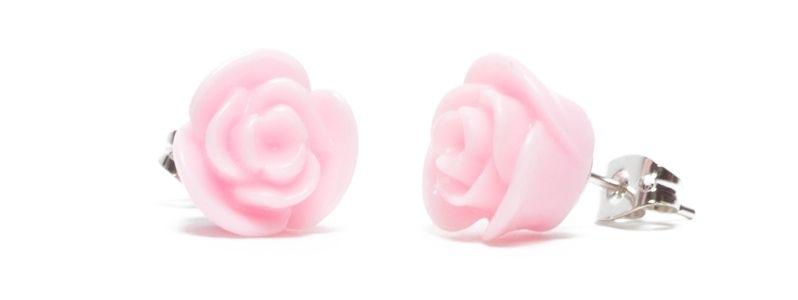 Ohrstecker mit Blumencabochons Rosa