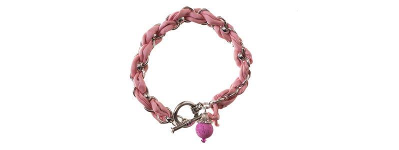 Geflochtenes Seidenarmband Pink