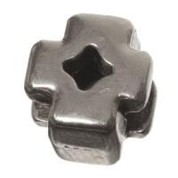 Metallperle Micro-Slider Kreuz, versilbert, ca. 6 x 6,5 mm