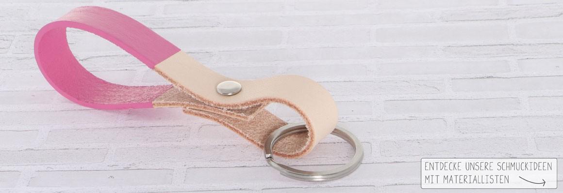 Schlüsselanhänger mit Lederfarbe und Nieten machen