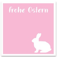 "Schmuckkarte ""Frohe Ostern"" rosa, quadratisch, Größe 8,5 x 8,5 cm"
