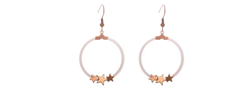 Ohrringe Creole mit Hämatitperlen Stern bronzefarben