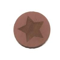 Holzcabochon, rund, Durchmesser 12 mm, Motiv Stern, rosa