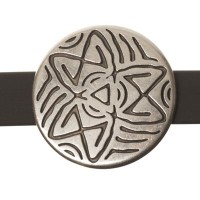 Metallperle Slider Ethno-Scheibe, versilbert, ca. 26,5 mm