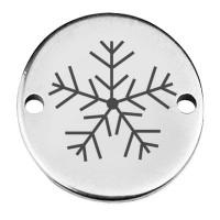 """Coin Armbandverbinder Weihnachten """"Eisblume"""", 15 mm, versilbert, Motiv lasergraviert"""