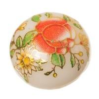 Cabochon bedruckt, Blumenmuster, rund, Durchmesser 12 mm, weiß