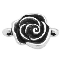 Armbandverbinder Rose, 18,0 x 13,0 mm, versilbert