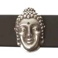 Metallperle Slider Buddha, versilbert, ca. 14 x 9 mm, Durchmesser Fädelöffnung:  10,2 x 2,2 m
