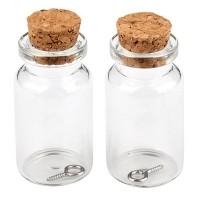 Mini Glasflaschen, 22 x 40 mm, mit Korkenverschluss und Aufhängeöse, 2 Stück