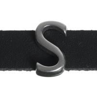 """Metallperle Slider / Schiebeperle Buchstabe """"S"""", versilbert, ca. 8,4 x 14,5  mm"""
