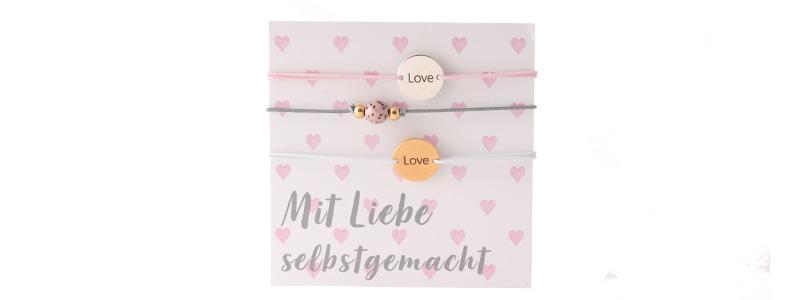 """Set Armbänder mit Coins """"Mit Liebe selbstgemacht"""""""