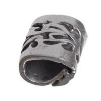 Metallperle mit Großloch, Röhre, 15 mm, versilbert