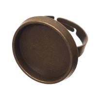 Fingerring mit Fassung für runde Cabochons 20 mm, bronzefarben, Ringschiene verstellbar