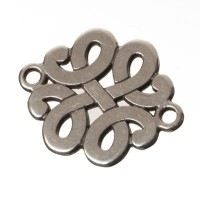 Metallanhänger / Armbandverbinder Ornament, 22 x 15 mm, versilbert